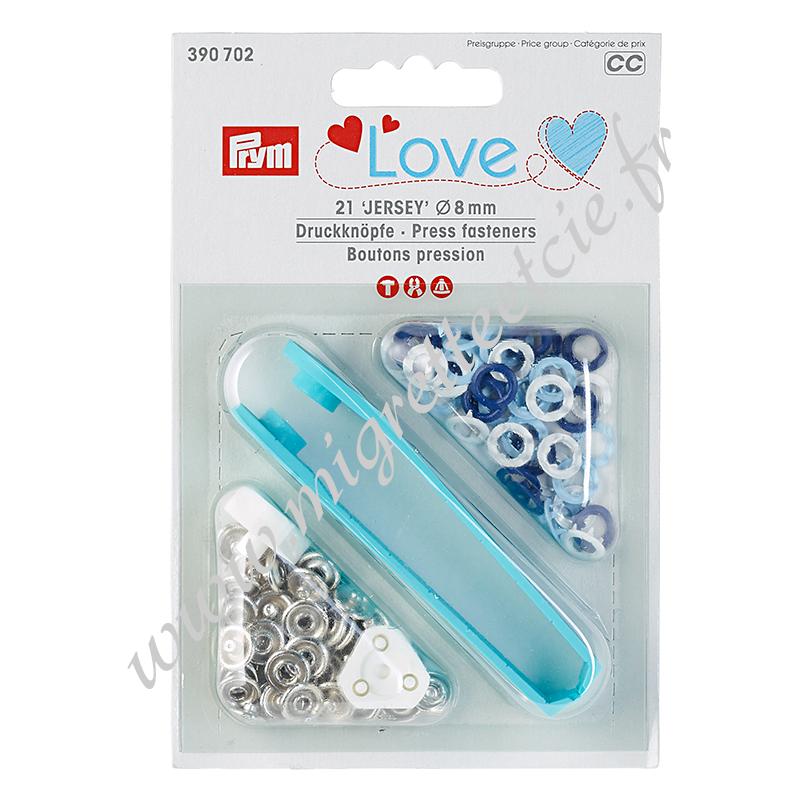 Boutons pression Prym Love Jersey, 8mm, bleu/bleu clair/blanc - 390702, Migrette et cie
