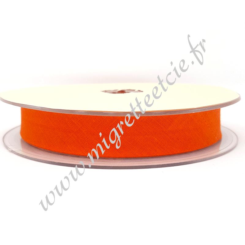 Biais Coton, 20mm, Orange Foncé, Migrette et Cie