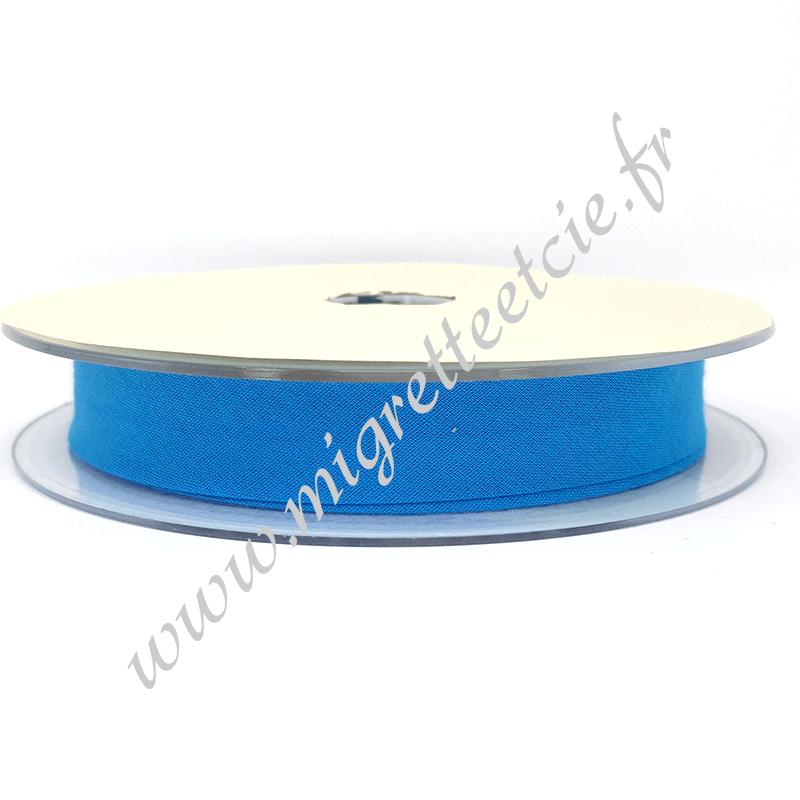 Biais Coton, 20mm, Bleu Azur, Migrette et Cie