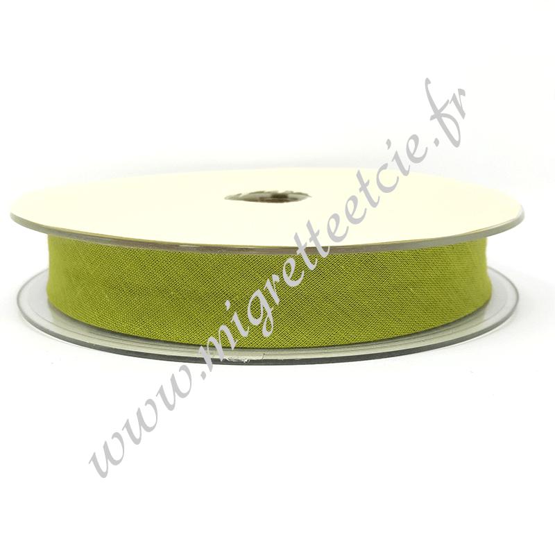 Biais Coton, 20mm, Vert Olive, Migrette et Cie