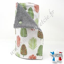 Essuie-tout lavable, coton imprimé feuilles, éponge grise, Migrette et Cie