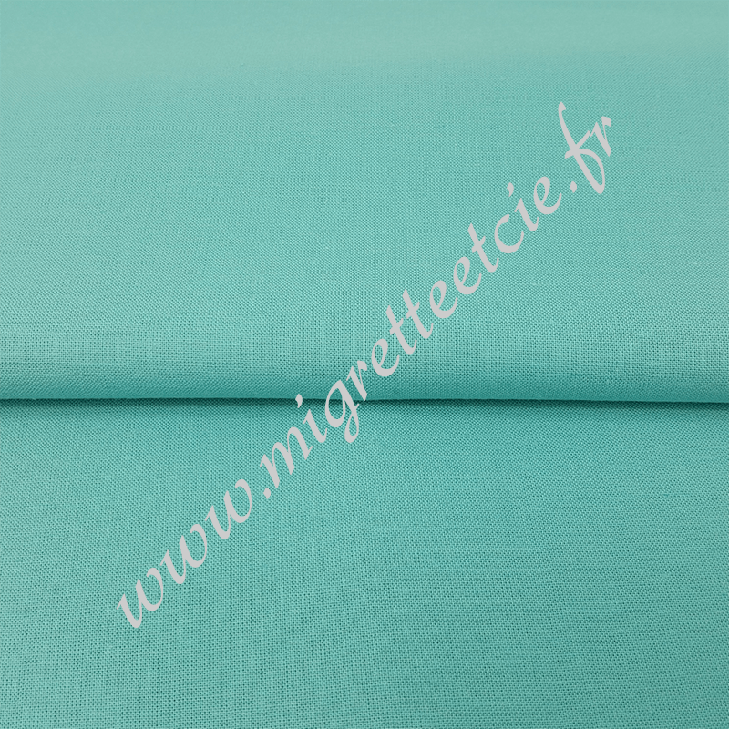 Tissu coton uni bio turquoise tendre,  100% coton issu de l'agriculture biologique ; Migrette & Cie