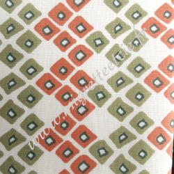 Tissu coton écru imprimé losanges olive corail, Migrette et Cie