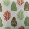 Tissu coton écru imprimé feuilles olive corail, Migrette et Cie