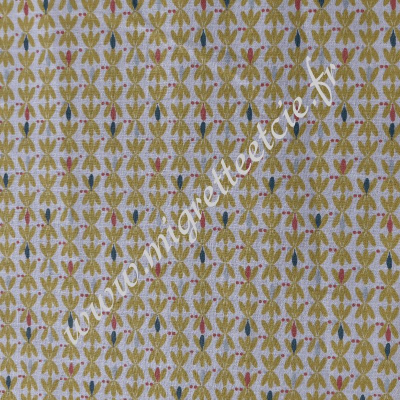 Coton imprimé Bejart moutarde, Migrette et Cie