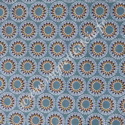 Coton imprimé Malawa turquoise, Migrette et Cie