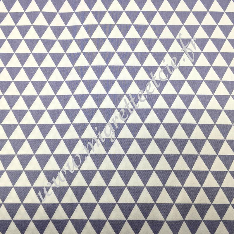 Tissu coton imprimé Petits triangles gris, Migrette et Cie