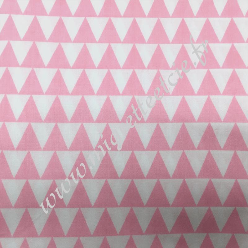 Tissu coton imprimé Grands triangles rose, Migrette et Cie