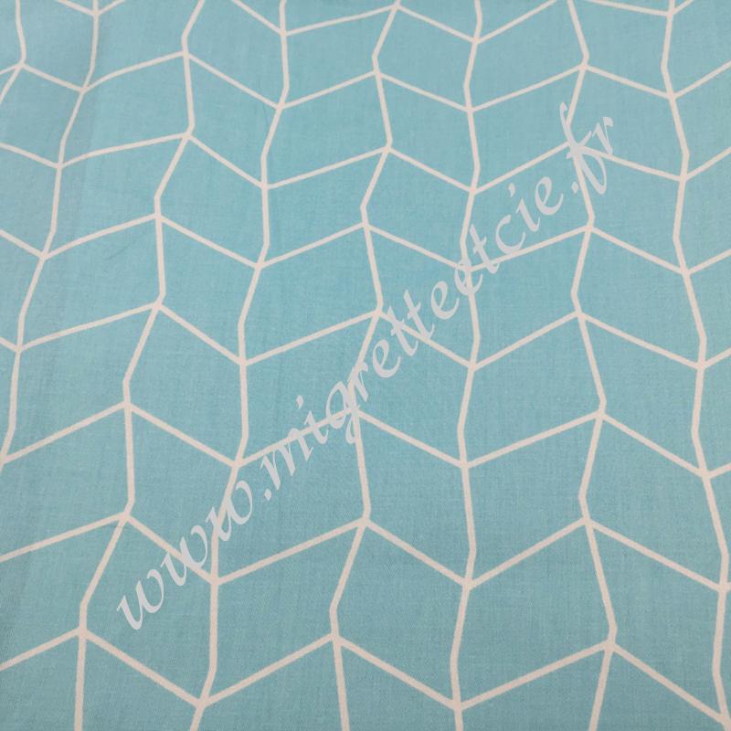 Tissu coton imprimé Bleu et filet blanc, Migrette et Cie