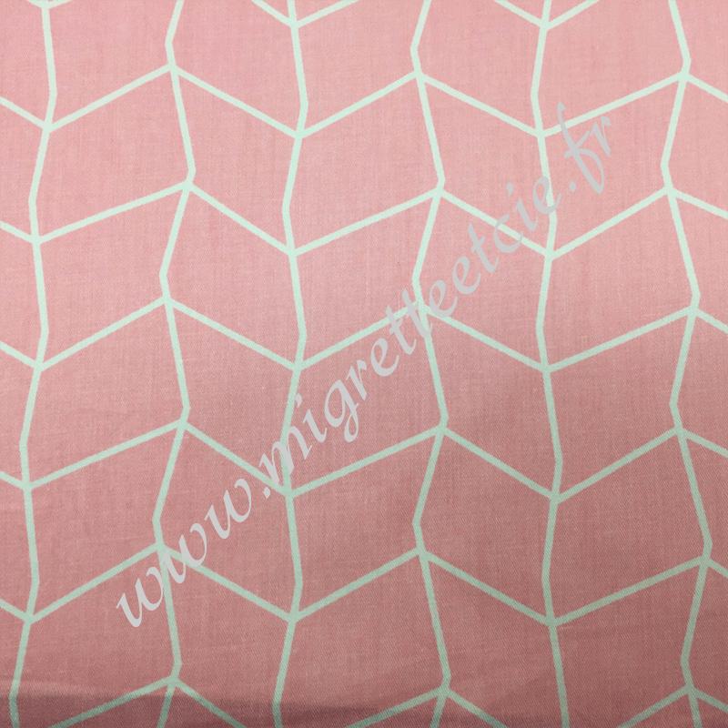 Tissu coton imprimé Rose et filet blanc, Migrette et Cie