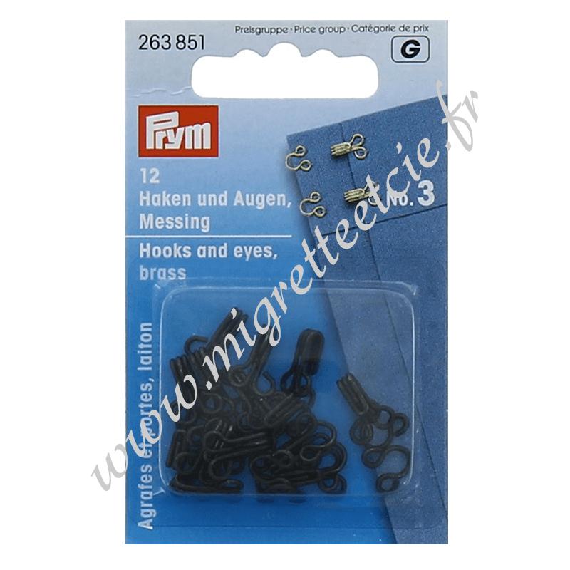 Agrafes métal à ressorts - Noir, taille 3, PRYM, Migrette et Cie