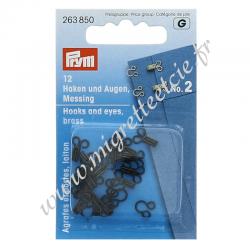 Agrafes métal à ressorts - Noir, taille 2, PRYM, Migrette et Cie