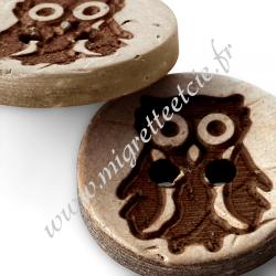 Boutons « Chouette », 2 trous, noix de coco, 18mm, marron, PRYM, Migrette et Cie