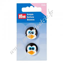 Boutons 2 trous Pingouin 20 mm blanc/noir, PRYM, Migrette et Cie