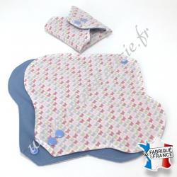 Serviette hygiénique lavable, coton bio imprimé papillons, Migrette et Cie