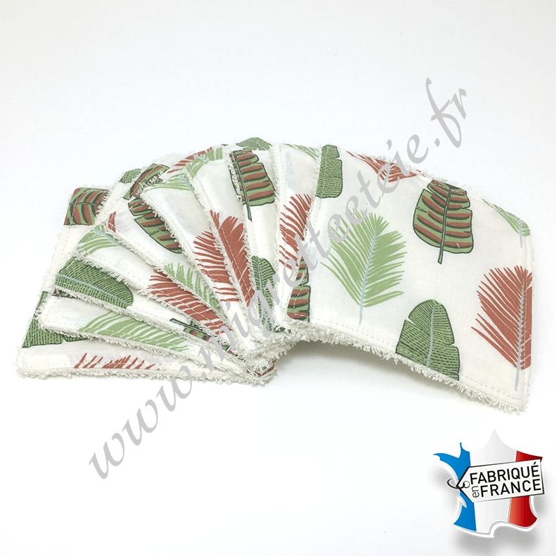 Lingettes lavables, coton imprimé plumes, éponge de bambou écru, Migrette et Cie