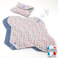 Serviette hygiénique lavable nuit, coton bio imprimé papillons, Migrette et Cie