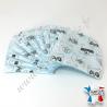 Lingettes lavables, coton imprimé animaux, éponge de bambou bleu, Migrette et Cie