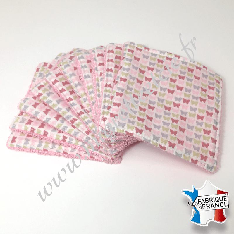 Lingettes lavables, coton imprimé papillons, éponge de bambou rose, Migrette et Cie