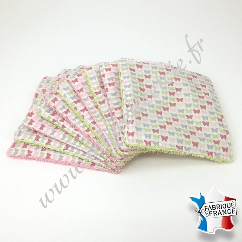 Lingettes lavables, coton imprimé papillons, éponge de bambou rose et verte, Migrette et Cie