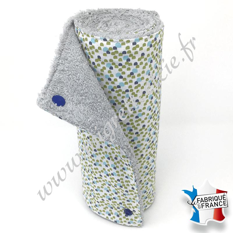 Essuie-tout lavable, coton imprimé turquoise vert bleu, éponge grise, Migrette et Cie