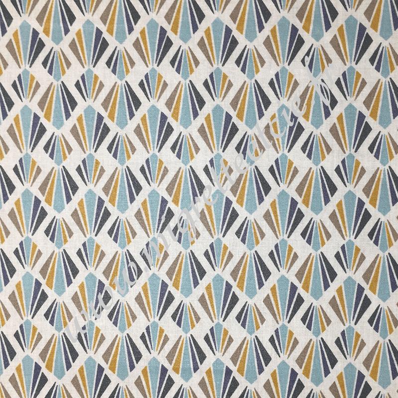 Coton enduit imprimé Payani Aqua Marine, Migrette et Cie