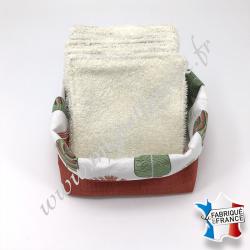 Lingettes lavables, coton imprimé plumes, éponge de bambou écru, panier en tissu assorti couleur brique, Migrette et Cie