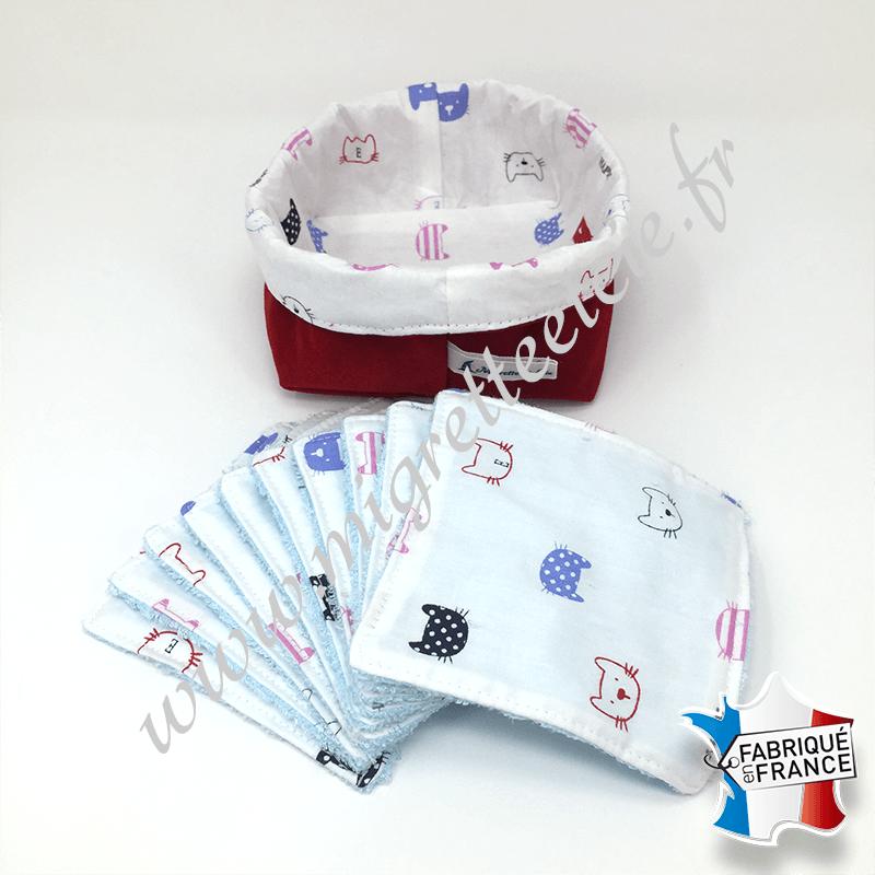 Lingettes lavables, coton imprimé chats, éponge de bambou bleu, panier en tissu assorti rouge, Migrette et Cie