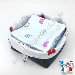 Lingettes lavables, coton imprimé chats, éponge de bambou bleu, panier en tissu assorti bleu, Migrette et Cie