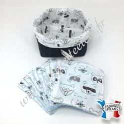 Lingettes lavables, coton imprimé animaux, éponge de bambou bleu, panier en tissu assorti bleu marine, Migrette et Cie