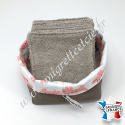 Lingettes lavables, coton blanc imprimé croco, éponge de bambou noisette, panier en tissu assorti, Migrette et Cie