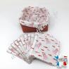 Lingettes lavables, coton imprimé pieuvres, éponge de bambou noisette, panier en tissu assorti, Migrette et Cie
