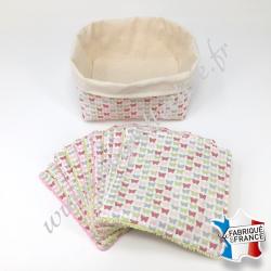 Lingettes lavables, coton imprimé papillons, éponge de bambou, panier en tissu assorti, Migrette et Cie