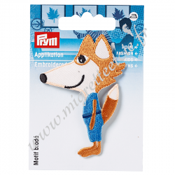 Patch Motif exclusif renard orange/bleu pour customiser vos vêtements et sacs, Prym, Migrette et Cie, PRYM 924208
