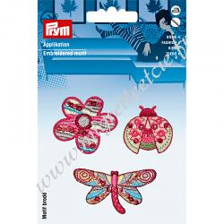 Écusson brodé thermocollant motif fleurs/papillon rose/multicolore, Prym, Migrette et Cie, Prym 925590