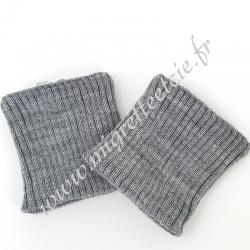 Sachet de 2 poignets bord côte – Gris