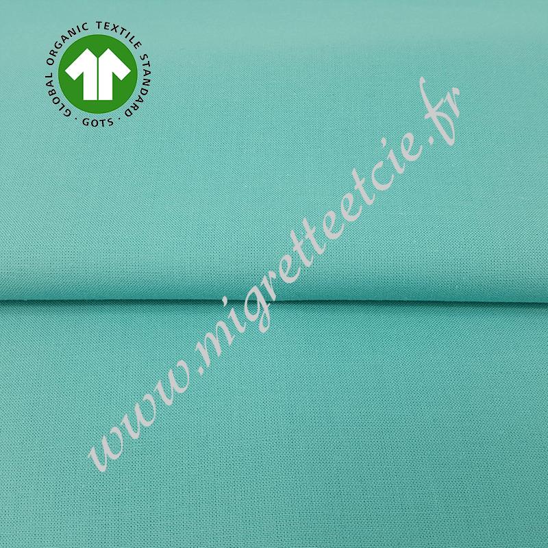 Tissu coton uni bio vert tendre, GOTS, Migrette & Cie
