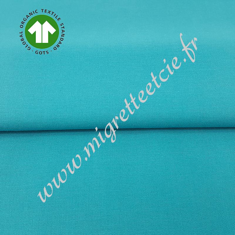 Tissu coton uni bio bleu ocean, GOTS, Migrette & Cie