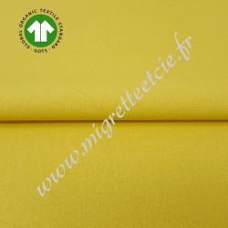 Tissu coton uni bio jaune blé, GOTS, Migrette & Cie