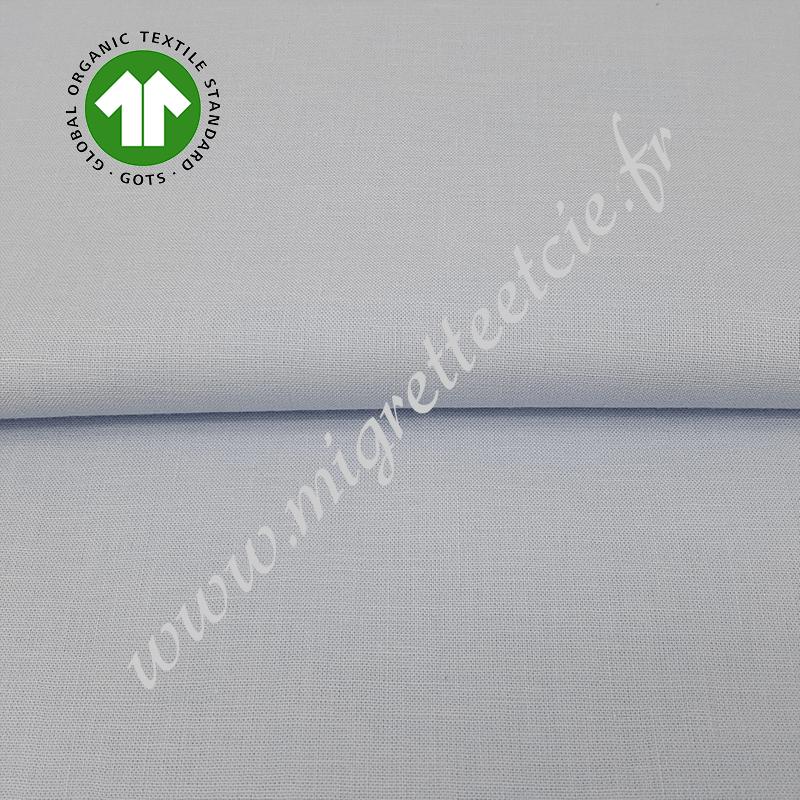 Tissu coton uni bio bleu tendre, GOTS, Migrette & Cie