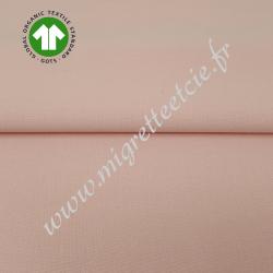 Tissu coton uni bio rose tendre, GOTS, Migrette & Cie