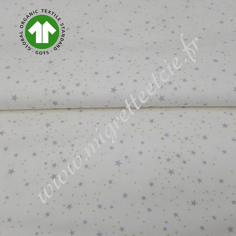 Tissu coton bio imprimé étoilé gris, GOTS, Migrette et Cie