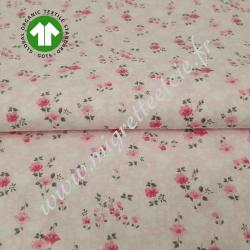 Tissu imprimé Bio fleurs roses, GOTS , Migrette & Cie