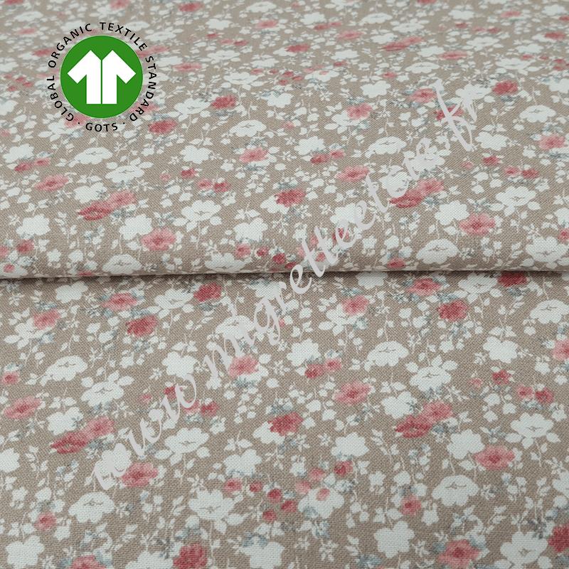 Tissu coton bio imprimé fleurs beige, GOTS, Migrette & Cie