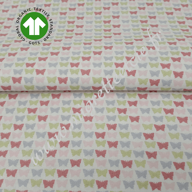 Tissu coton bio imprimé papillons, GOTS, Migrette & Cie