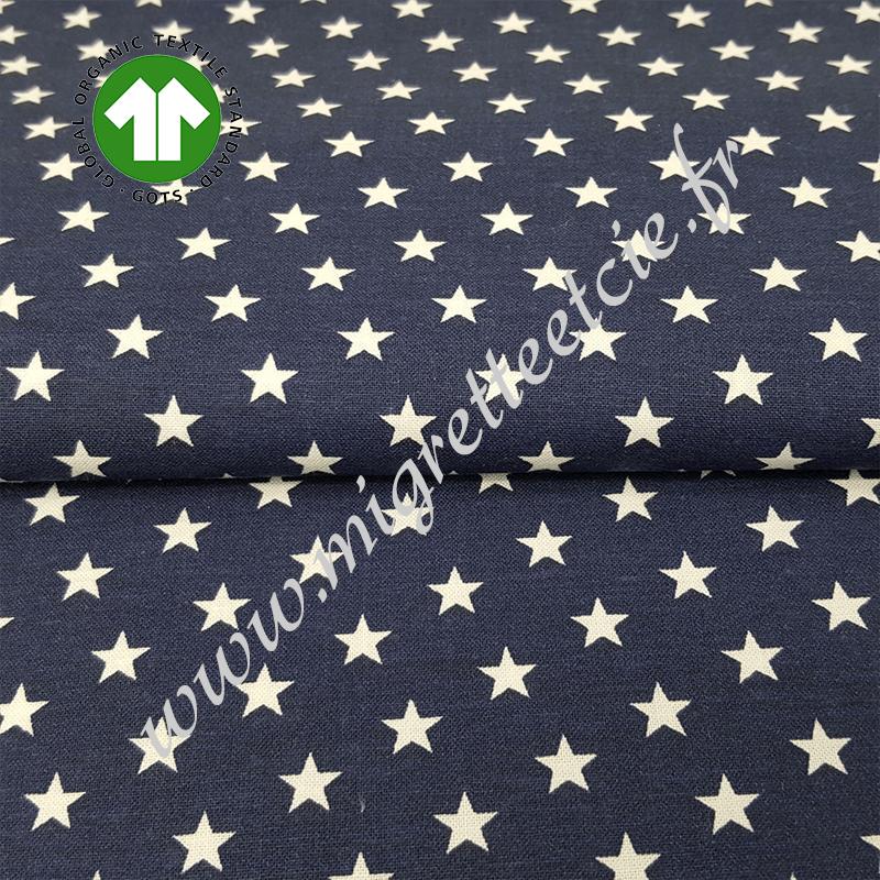 Tissu coton bio imprimé marine star,  GOTS, Migrette & Cie