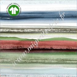 Popeline de coton Bio imprimé Green Horizon, Gots, Migrette et Cie