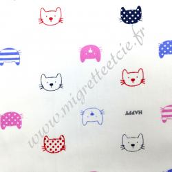 Popeline de coton imprimé têtes de chat, Migrette et Cie