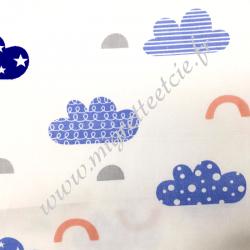 Popeline de coton imprimé nuages, Migrette et Cie