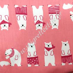 Tissu coton imprimé Ours polaire rose, Migrette et Cie